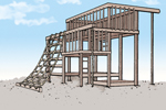 All wood jungle gym with rope climb on side