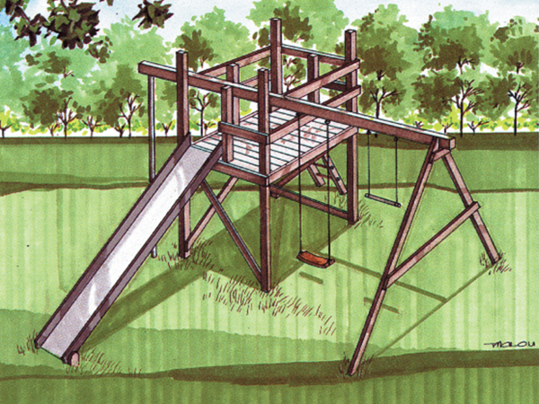 Jungle gym swing set plan 002d 0011 house plans and more for Wooden jungle gym plans