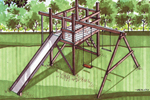 Wood jungle gym swing set with long slide and swing