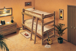 Rustic wood bunk bed design with ladder to the top bunk