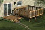 This all wood deck is designed for two level with the top level surrounded by railings