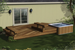 Two-level wood deck with built-in benches and space designed for a whirlpool spa