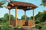 Great all wood four-sided gazebo has lattice railing and a spacious feel