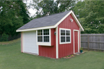 This convenience shed has multiple windows for added light, a side door and front garage style door