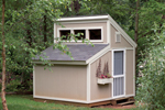 Garden sheds with clerestory window on top has a conveneint side door and window with planter box