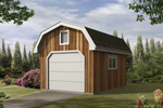 Barn style storage shed has an overhead door for easy storage and a rustic exterior look