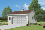 This two-car garage has a colonial or New England style thanks to the cupola on the roof