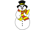 Mr. Chip Snowman has a vibrant striped scarf