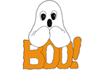 Boo ghost promises to thrill the treat-or-treaters with its fun greeting