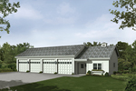Four-car garage with work shop and equipment storage through front door