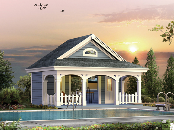Summerville pool cabana plan 009d 7524 house plans and more for Pool cabana plans