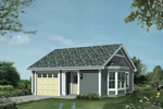 Comfortable cottage design with two-car front loading garage and side bay window