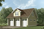 Three-car garage with Craftsman style details on the roof and a large bay window