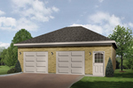 Stylish two-car garage design has an entry door and two separate garge doors along with a hip roof