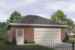 Two-car garage design has entry door and hip roof design