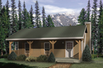 Rustic country cabin home design with covered front porch