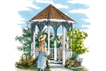 Intricate eight-sided gazebo would look great with a Country or Victorian style home plan
