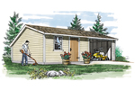 This large saltbox storage shed provides a large space for yard equipment and storage