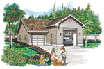 One-car garage with RV storage is designed for great function