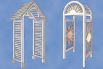 Two stylish entrance arbors offer one with a pointed roof and another with a rounded top