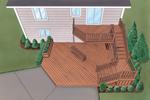 Split-level deck design has a custom feel with multiple areas and levels for entertaining