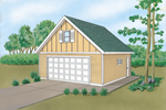 Combination siding style gives this two-car garage with loft character