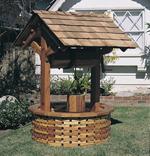 Wood wishing well with wood shingle base