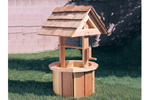 Small wood wishing well is a great size for a smaller or narrow lot