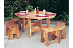 Redwood cedar octagon shaped table set includes benches for all around and creates enough seating for the whole family
