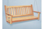 This wood porch swing is designed to look great with many home styles