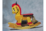 Rocking horse can be painted to include colors to match a children's bedroom