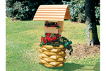 Landscape timber wishing well has log style design great for rustic environments