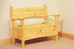Rustic simple bench has storage under the seating area