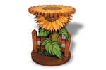 This sunflower plant stand can be painted to match any décor in your country home plan