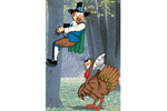 Terrorizing turket is a cute Thanksgiving scene perfect if you have a large tree