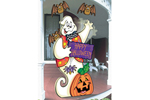 Cute and colorful waving ghost greets halloween trick-or-treaters at your front door