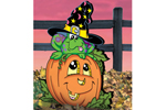 Pumpkin patch frog features a cute addition to your Halloween scene