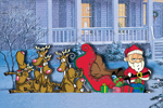 Sleigh mash is funny and eye-catching with all of the reindeer piled in front of Santa's sleigh