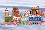 Gingerbread train add color and a festive feel to your yard