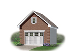 One-car garage has gambrel roof and decorative window in the gable