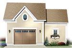 Two-car garage has plenty of room for storage plus a charming planter box under the window