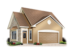 Stylish two-car garage has side entry door and the appearance of a cottage style house