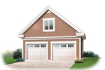 Two-car garage has gable roof style