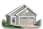 Two-car garage has double gabled exterior