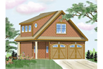 Two-story garage has Craftsman style details and arched garage doors