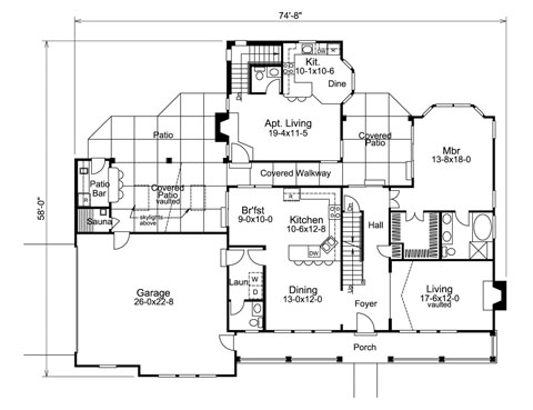 home plan with separate apartment living included