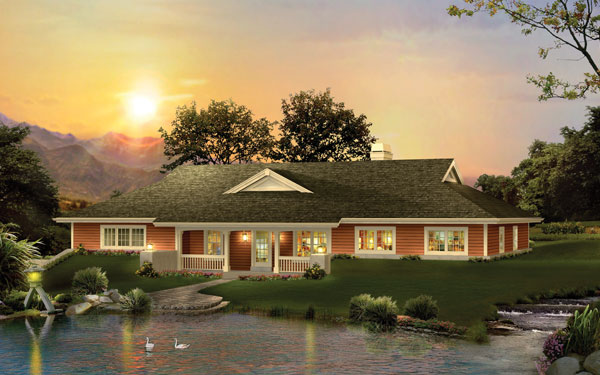 color rendering of berm home by lake