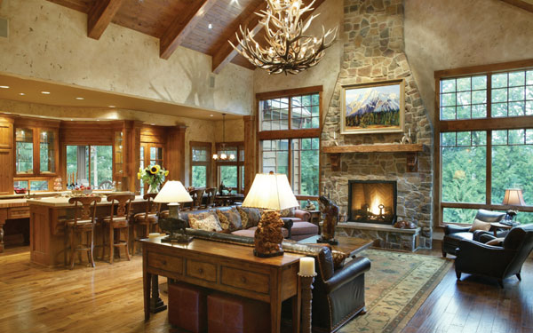 Open rustic ranch floor plan for Open concept craftsman house plans