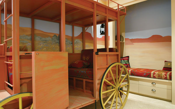 playroom with western stage coach