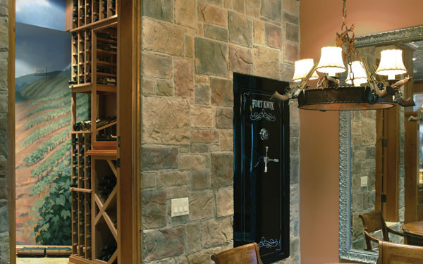 custom wine cellar with vineyard wall mural
